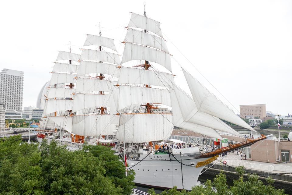 帆船日本丸の総帆展帆