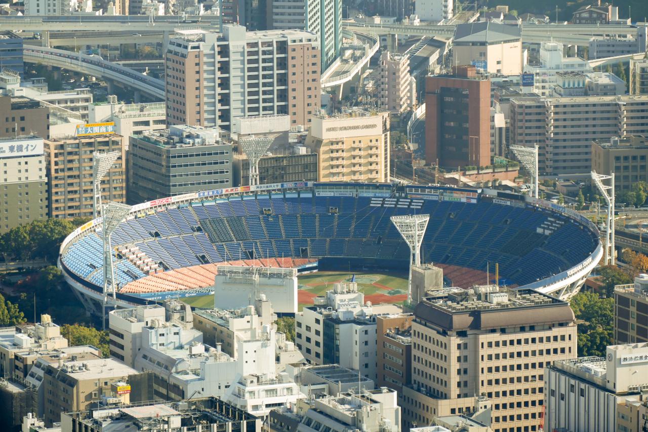 ランドマークタワーから臨む横浜スタジアム